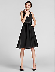 Knee-length Chiffon/Satin Bridesmaid Dress - Black Plus Sizes Sheath/Column Halter