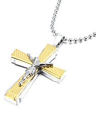 jésus épaisse alliage de zinc argent collier en or croix crucifix pendentif