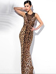 Women's Sexy / Casual / Party / Maxi Leopard Bodycon Dress , Crew Neck Maxi Cotton Blends