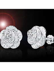 Weimei Women's Elegant Romantic Flower Silver Earrings