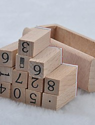 Telephone Number Symbol Retro Rubber Stamps with Wood Box(12 PCS/Set)