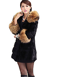 coko midlong falso abrigo de pieles cuello de piel