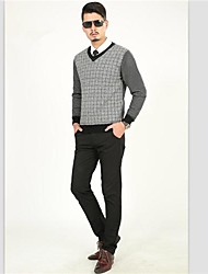 Men'S  Modern Times  Brand  Business V-Neck Woolen Sweater,100% pure imported wool yarn
