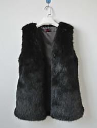 Gilet senza colletto, in finta pelliccia, (vari colori)