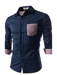camisa padrão de verificação slim-encaixe dos homens manlodi