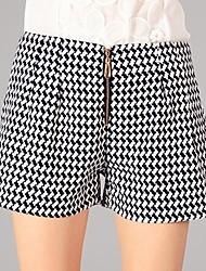 zip cheque tweed calças curtas de youlanyasi®women