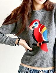 padrão papagaio manga longa camisola das mulheres