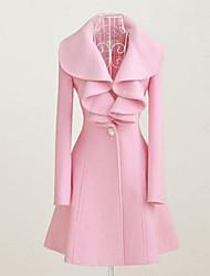Fantasy Women's Long Sleeve Slim Fashion Lapel Neck Tie Elegance Overcoat