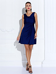 TS Couture® Cocktail Party / Holiday Dress - Dark Navy Plus Sizes / Petite Sheath/Column Cowl Short/Mini Jersey