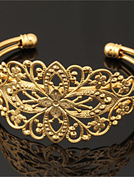 Women's Cool Vintage Hollow Flower Bangle 18K Chunky Gold Platinum Plated Cuff Bracelet Bangle for Women