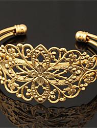 legal do vintage flor oco pulseira 18k robusto ouro, platina das mulheres banhado manguito pulseira para mulheres
