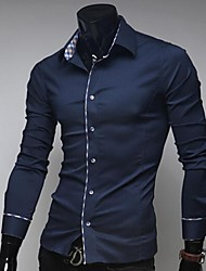 Manlodi Men's Solid Color Slim-Fitting Shirt