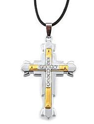 Modische Halsketten Anhängerketten Schmuck Alltag Normal Weihnachts Geschenke Kreuzform Aleación Leder Geschenk Schwarz