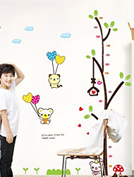 Lovely PVC Young Trees & Bear Height Wall Stickers