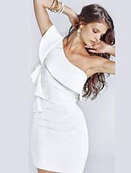 Club Girl Fashion Women Sexy One Shoulder White Elegant Ruffled Sleeve Bandage Bodycon Dress N075