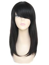 100% Human Hair Long Straight Full Bangs Capless Hair Wig Black
