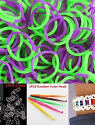600PCS Purple&Green 2-Segment DIY Twistz Silicone Rubber Bands for Rainbow Loom Bracelets with Hook&S-clips