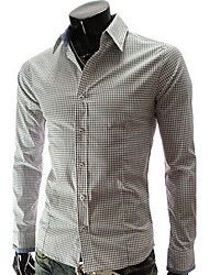 Manlodi Men's Check Pattern Slim-Fitting Shirt