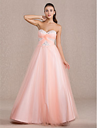 A-Line Ball Gown Princess Sweetheart Floor Length Tulle Prom Quinceanera Dress with Beading by TS Couture®