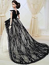Barbie Doll Midnight Black Lace Chapel Train Party/Wedding Dress
