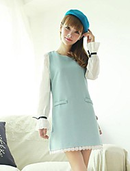 Women's Round Collar Stitching Maternity Dress (More Colors)