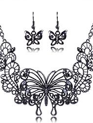 europe des femmes découpé alliage ensemble de bijoux de papillon (y compris colliers boucles d'oreilles)