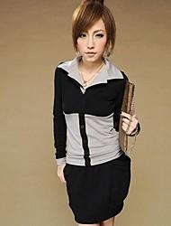 algodón de la solapa de la manga larga t-shirt de ozl®women