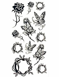 1pc Black Rose Butterfly Waterproof Tattoo Sample Mold Temporary Tattoos Sticker for Body Art(18.5cm*8.5cm)