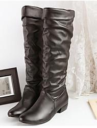 Zapatos de mujer - Tacón Robusto - Botas a la Moda - Botas - Oficina y Trabajo - Cuero Sintético - Negro / Marrón / Blanco