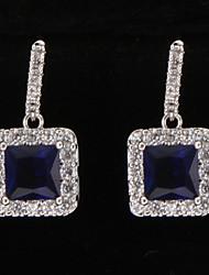platino cubo de plateado pendientes BlueGem