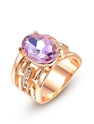 Noble And Elegant Party Jewelry 18K Rose Gold Plated Shining Purple Colour Austria Crystal Diamond Finger Ring