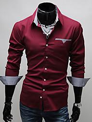 camisa do negócio moda casual equipado homens anuosi