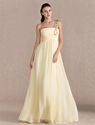 Sheath/ Column One Shoulder Floor-length Beaded Chiffon Evening/Prom Dress