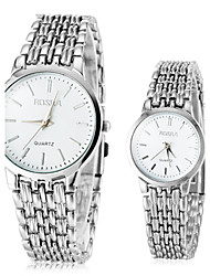 Couple's Simple Silver Alloy Band Quartz Wrist Watch Cool Watches Unique Watches Fashion Watch
