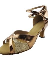 Customizable Women's Dance Shoes Latin Paillette Customized Heel Gold