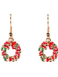 Cute Enamel Wreath Christmas Earrings