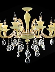 Modern Crystal Chandelier Eight Lights Zinc Alloy Jade-like Resin and Crystal 220~240V