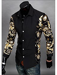 hillgo bodycon camisa dos homens de moda de manga longa