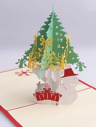 Christmas Tree and Snowman Dimensional Christmas Cards