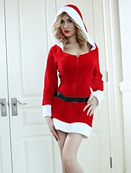 Long Sleeves Zipper Dress with Hat Red Adult Christmas Woman's Costume