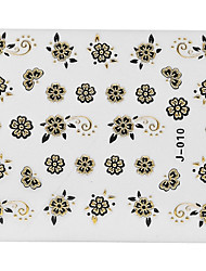 5PCS Black Flower Nail Art Stickers