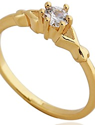 Ring Fashion Party Jewelry Cubic Zirconia Women Statement Rings 1pc,One Size Gold