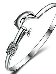 Femme Bracelets Rigides Amitié Ajustable Ouvert bijoux de fantaisie Argent sterling Forme d'Animal Dauphin Bijoux Pour Mariage Soirée
