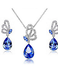 SARAH Women's Tear Of Butterfly Diamante Gemstone Alloy Crystal Pendant Necklace