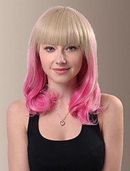 Trend Sweet Medium Length Curly Hair Wigs with Full Bang
