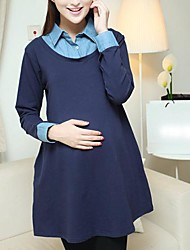 Maternity Lapel Stitching Dress