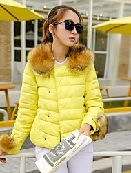 Yalun®New Fashion Women'S Raccoon Fur Collar Slim Down Jacket