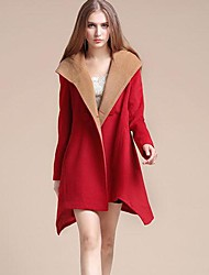 Women's Trench Coat,Solid Long Sleeve Spring / Fall / Winter Red / Brown / Green Polyester Medium