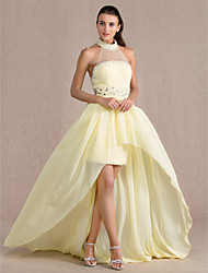 Formal Evening Dress - Daffodil Plus Sizes Sheath/Column High Neck Asymmetrical Chiffon/Tulle