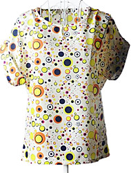 Women's Print Blue/Yellow Shirt , Round Neck Short Sleeve
